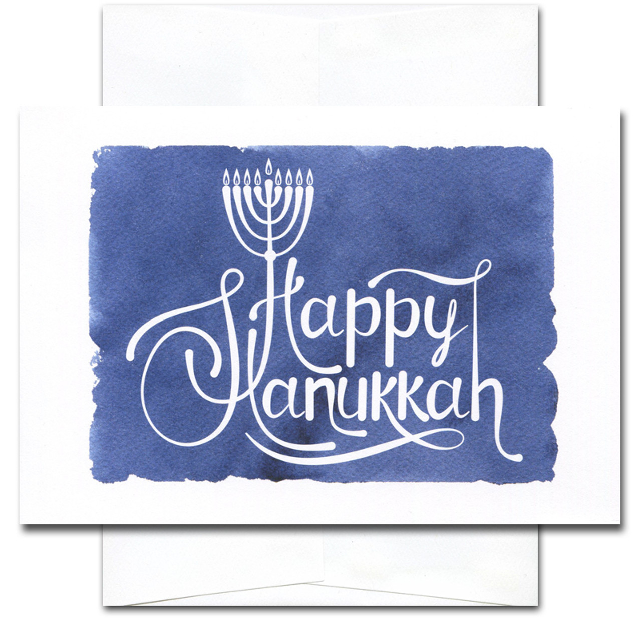 Hanukkah Card - Light and Peace. Cover shows an illustration of a menorah and the words Happy Hanukkah against a hand-painted blue watercolor background