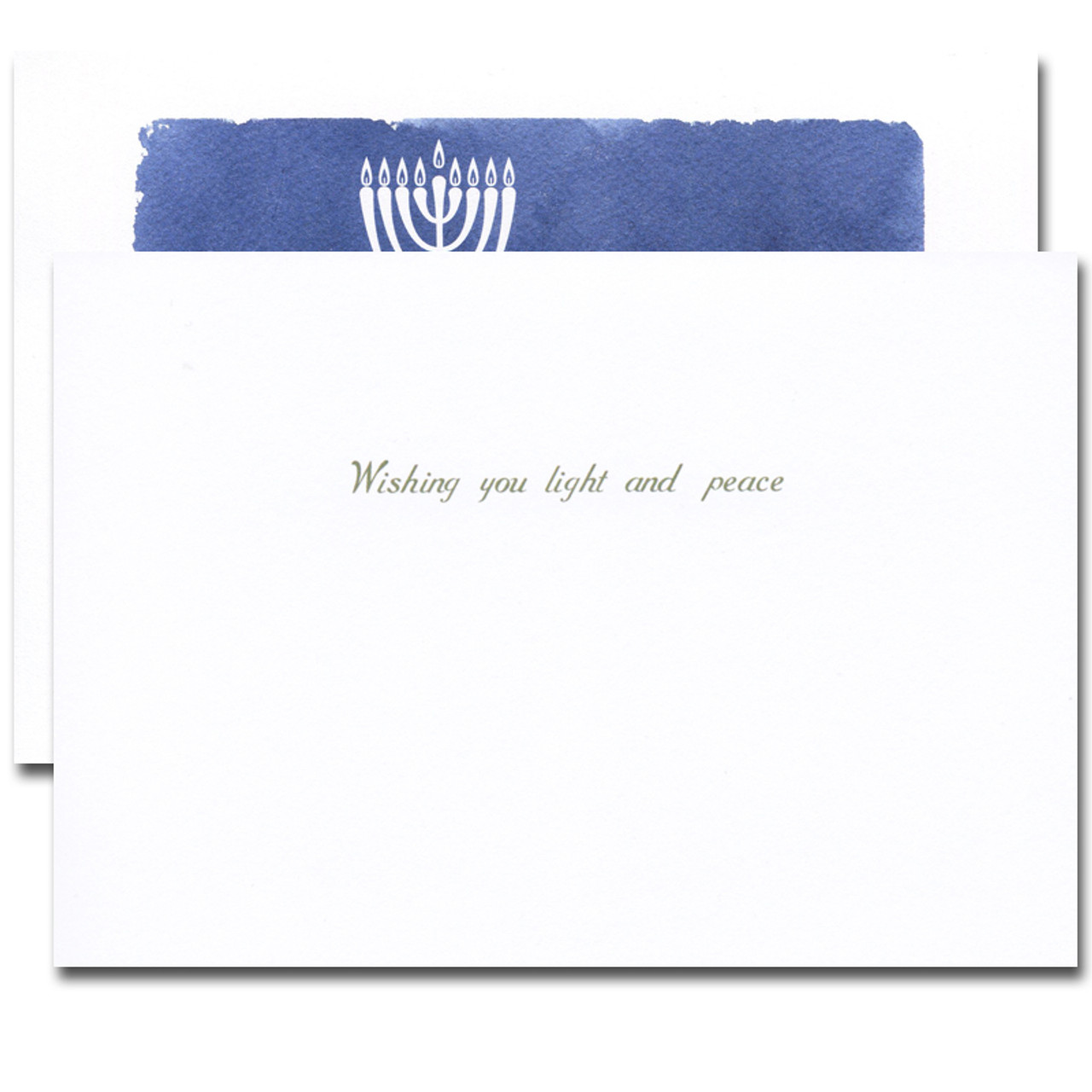 Hanukkah Card - Light and Peace inside reads: Wishing you light and peace