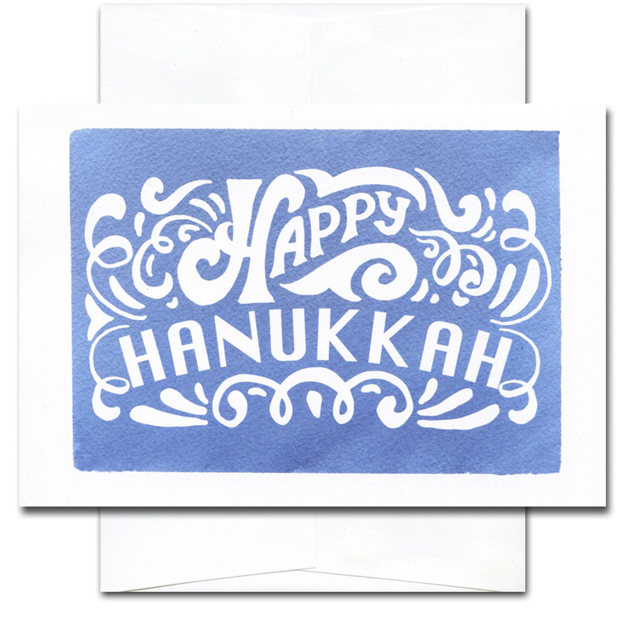 Hanukkah Card - Joy and Light. Cover shows hand-lettered design of the words Happy Hanukkah set against a hand-painted blue watercolor background