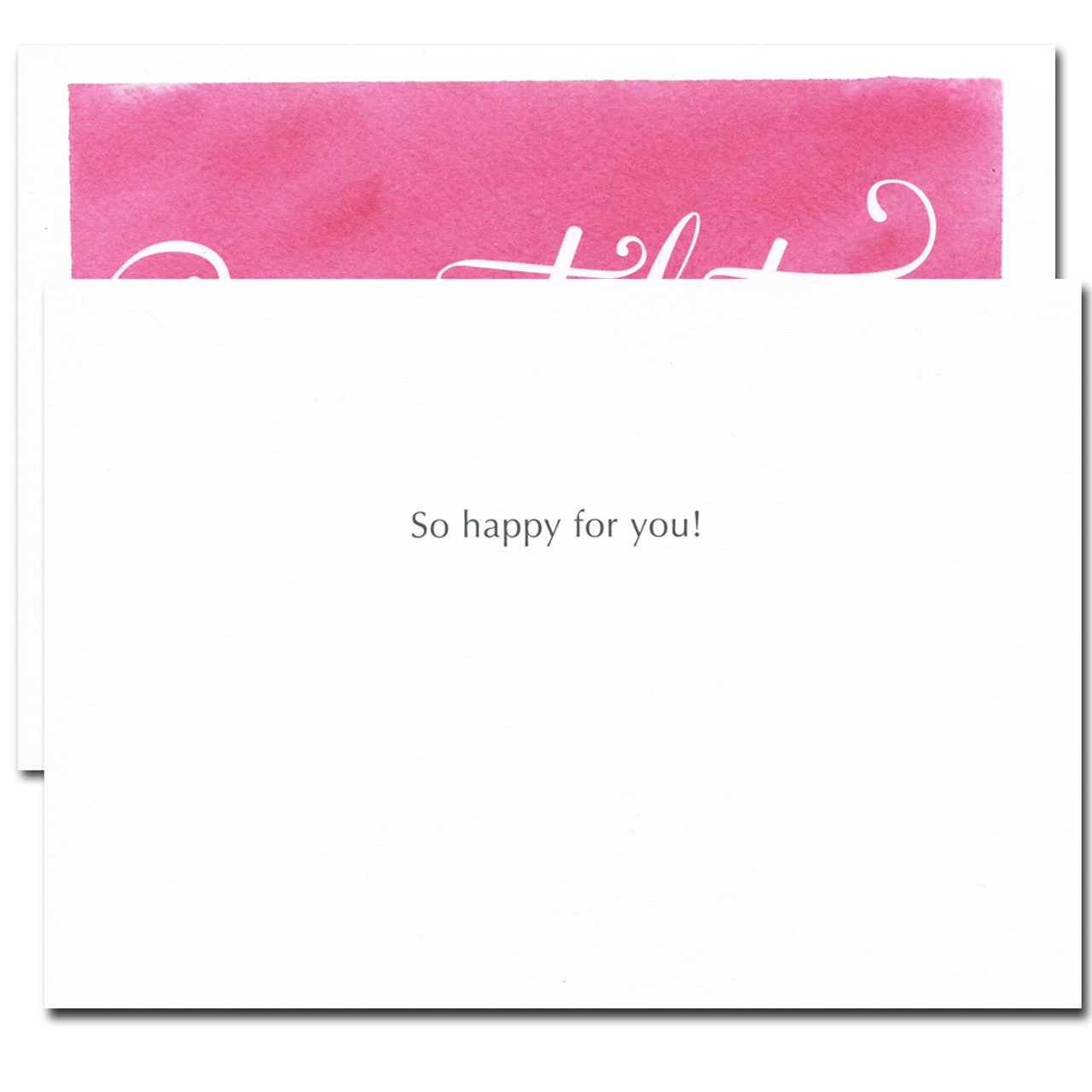 Congratulations Card - Flourishes. Inside reads: So happy for you!