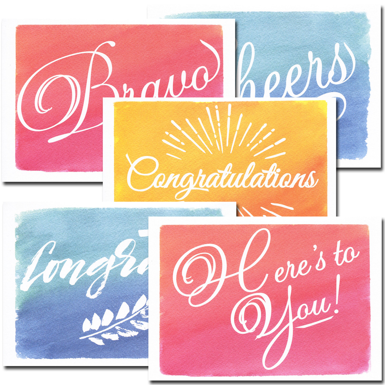 Congratulations Assortment: Colorful - box of 30 blank cards & 32 env