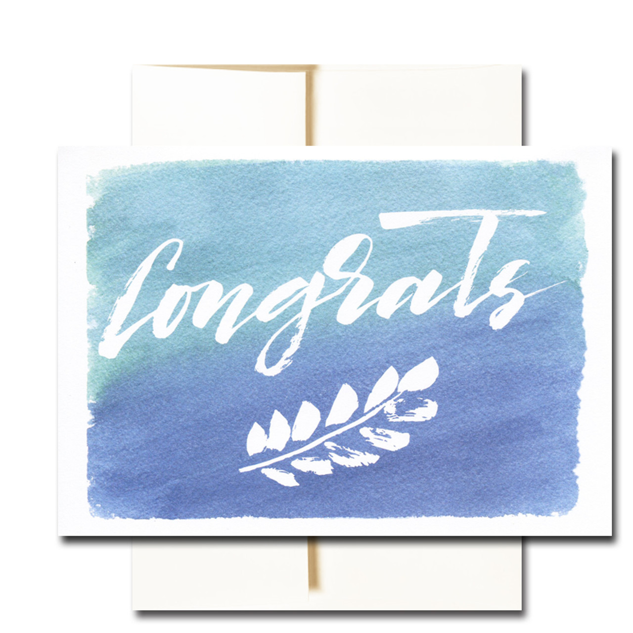 "Business Congratulations Note Card  has the word ""Congrats"" in hand-drawn lettering along with a leaf design on a hand-painted watercolor background"