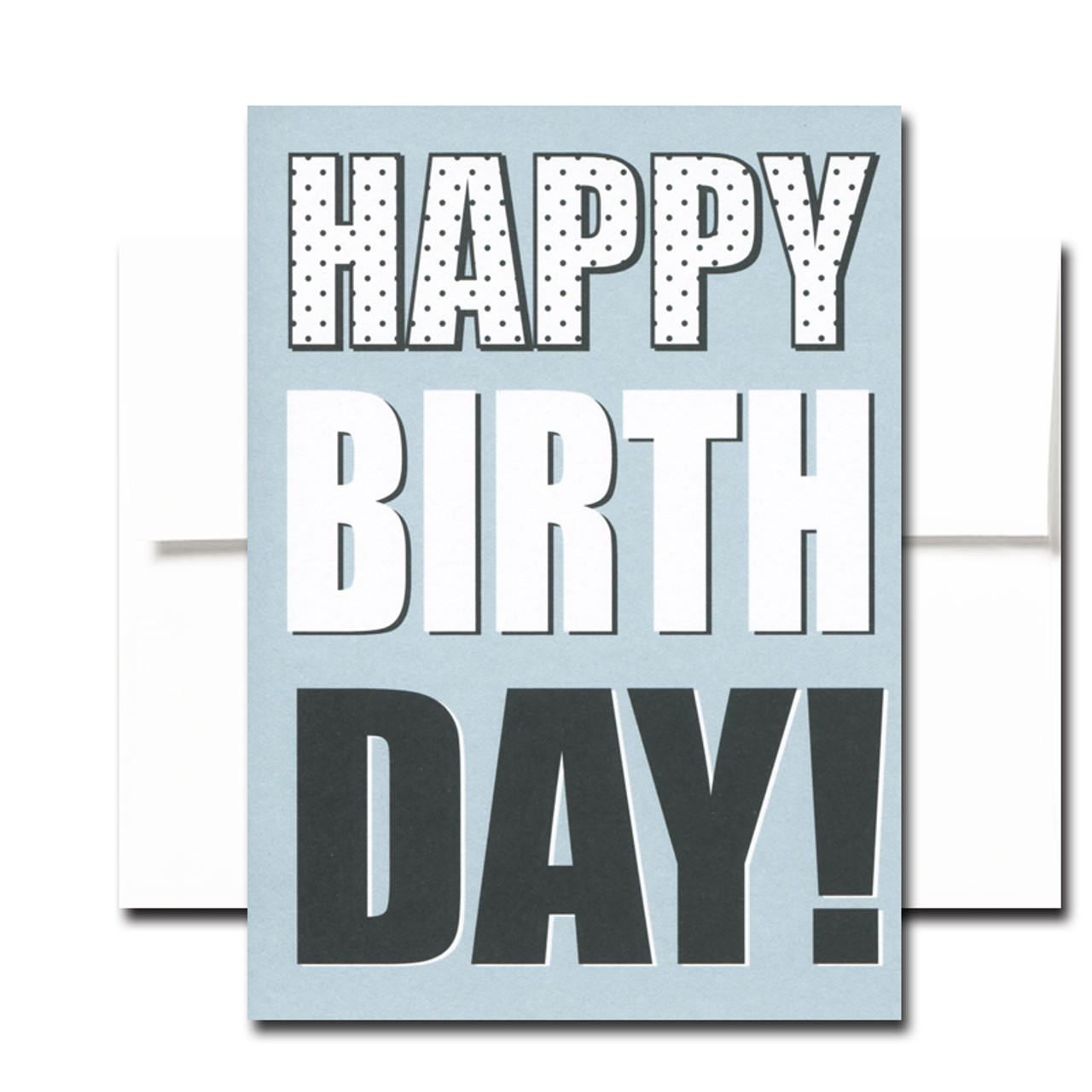 "Boxed Birthday Card - Big Day has white and black lettering on a blue background and the words ""Happy Birth Day!"""