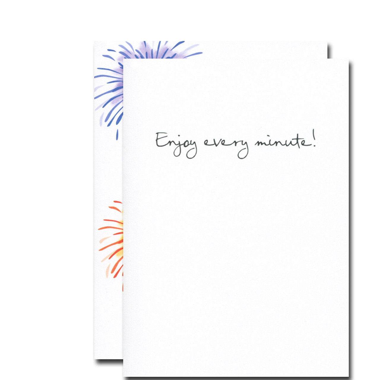 Boxed Birthday Card -Fireworks inside reads: Enjoy every minute!