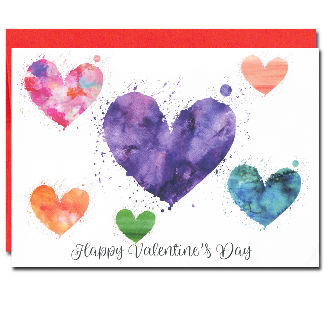 Valentine Card has multi-colored watercolor hearts and the greeting: Happy Valentine's Day