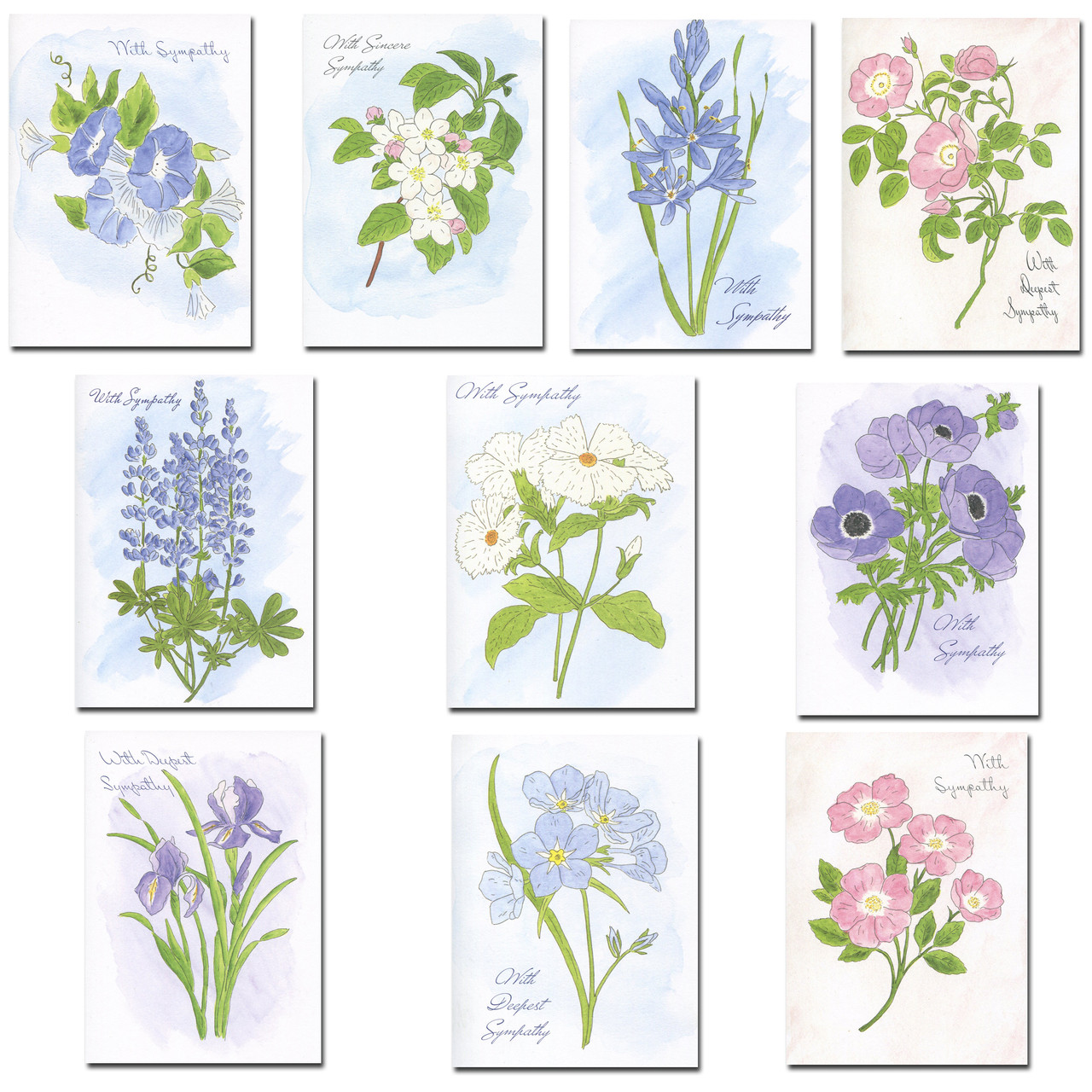 Sympathy Card Assortment: Watercolor Florals, three each of 10 different hand-painted watercolor floral designs