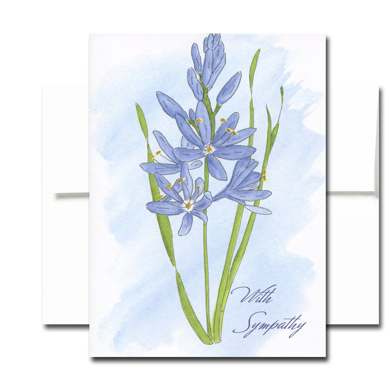 Sympathy Card: Wild Hyacinth. Cover has a hand-painted watercolor illustration of a wild hyacinth and the words With Sympathy