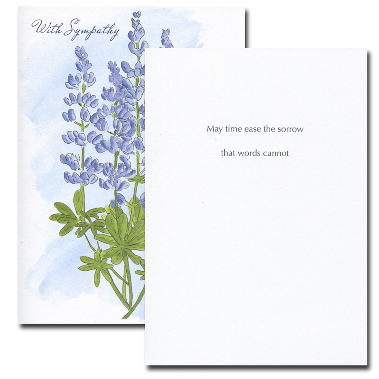 Inside of Lupine Sympathy Card reads: May time ease the sorrow that words cannot