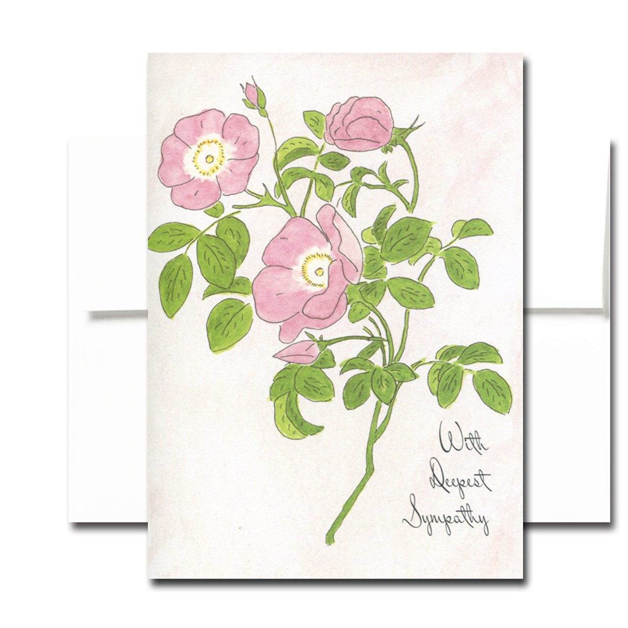 Sympathy Card: Wild Rose. Cover has a hand-painted watercolor illustration and the words With Deepest Sympathy