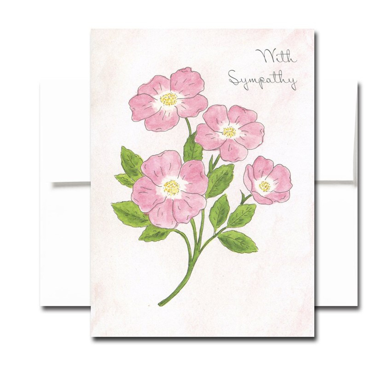 Blank Sympathy Card: Sweet Briar. Hand-painted watercolor illustration.