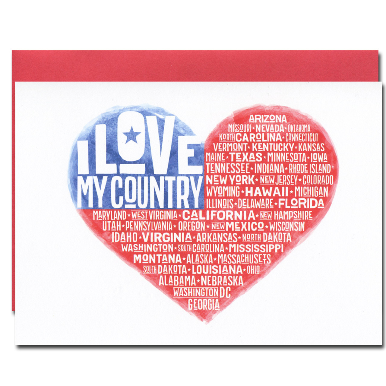 July 4th - I Love My Country has a red, white and blue design with all 50 states