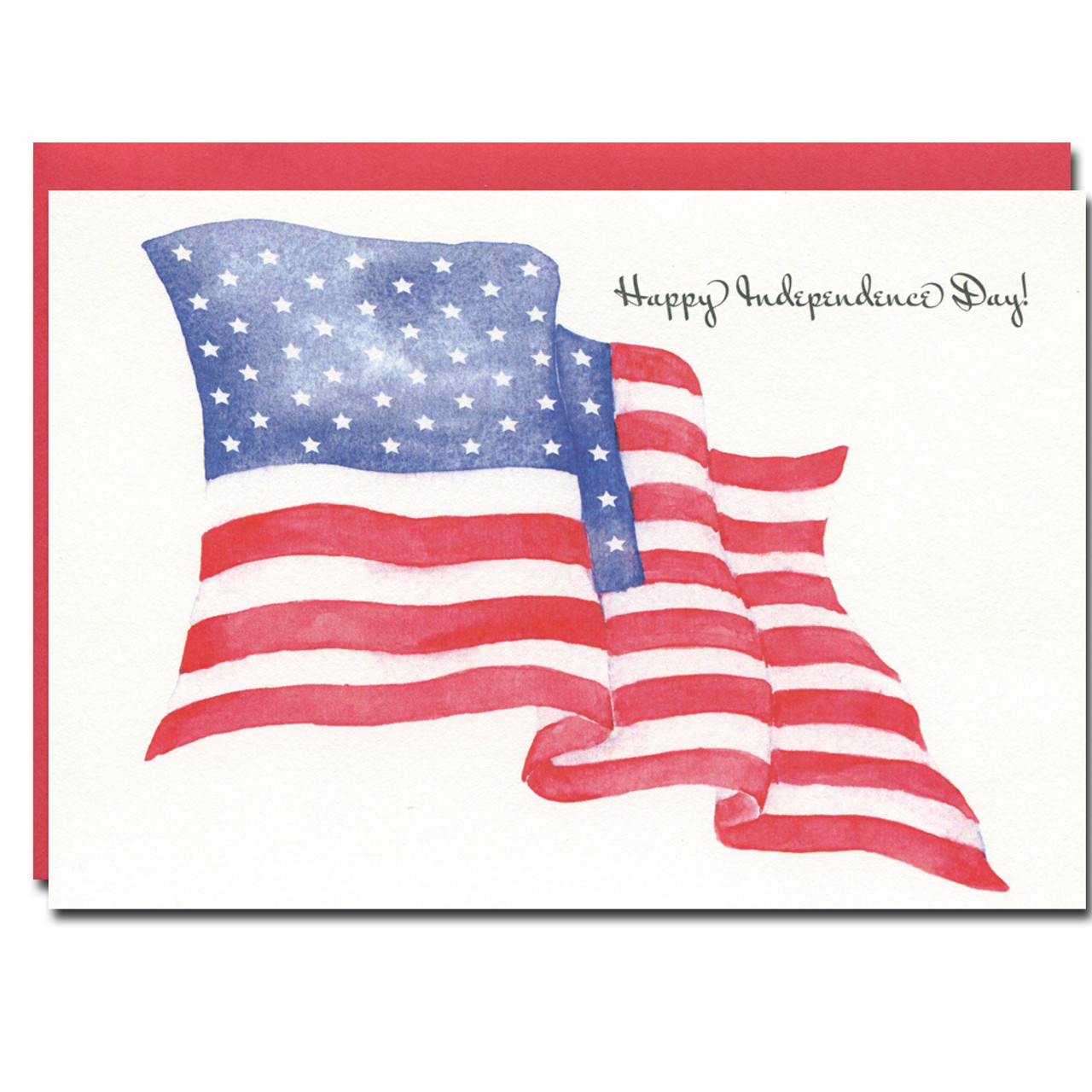 July 4th - American Flag has a watercolor illustration the flag and the greeting, Happy Independence Day!