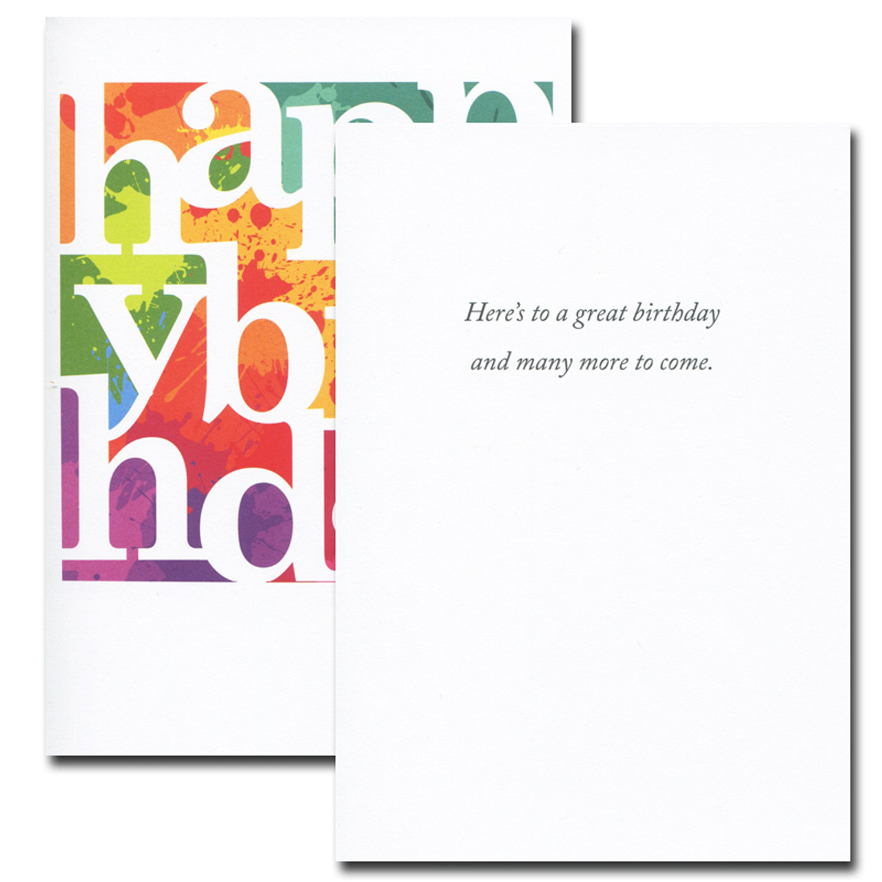 Color Blocks Birthday Card inside reads: Here's to a great birthday and many more to come