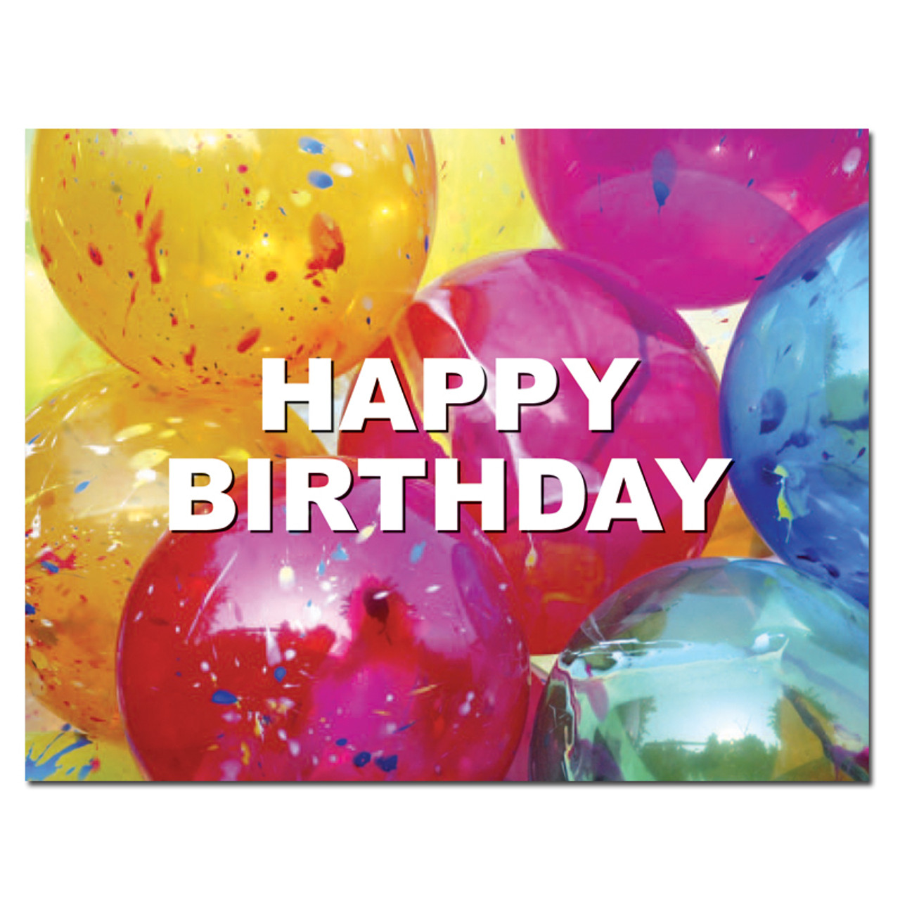 """Birthday postcard """"Bright Balloons"""" front has a  photo of multicolored balloons with the words Happy Birthday in block letters."""