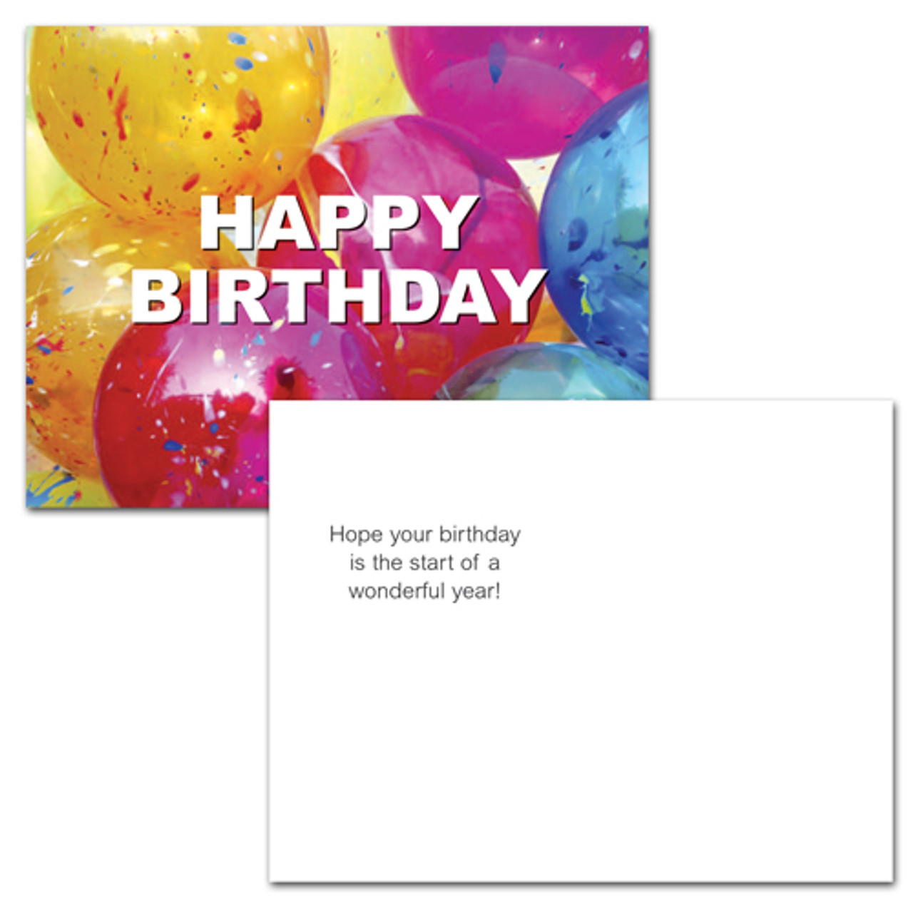 """Birthday postcard """"Bright Balloons"""" on the other side has the words  """"hope your birthday is the start of a wonderful year!"""" and space for a message and name and mailing address.  12 of this birthday postcards style per box for corporate, business or school use."""