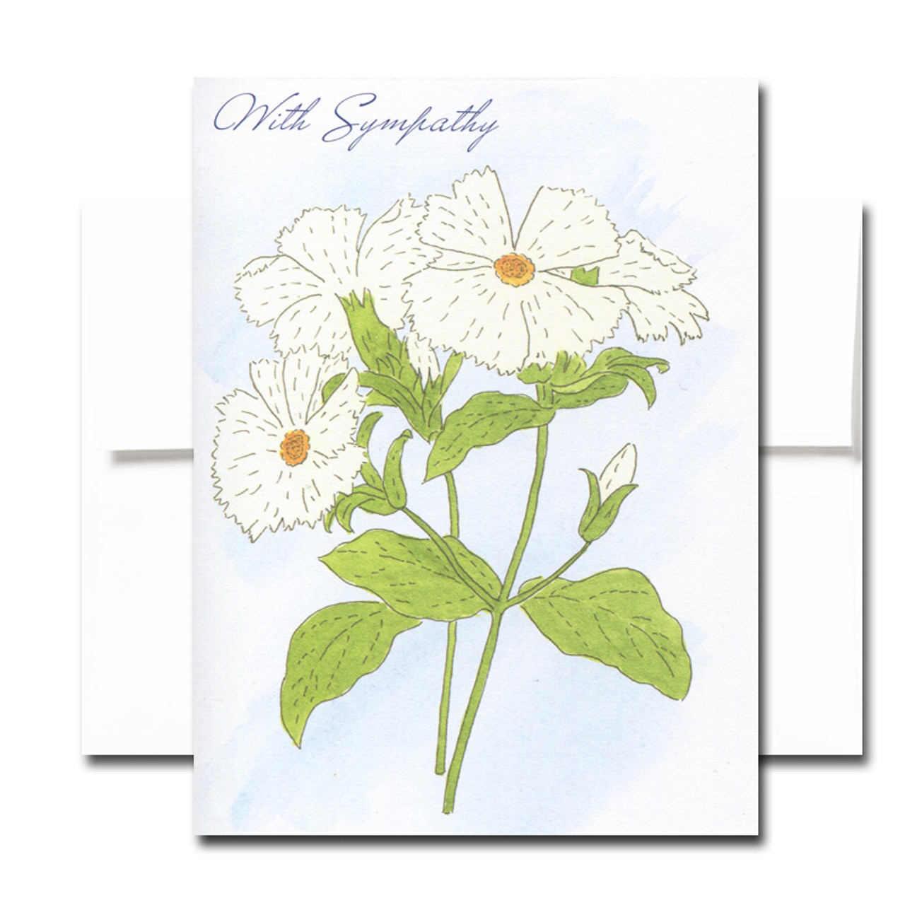 Sympathy Card: Campion. Cover has a hand-painted watercolor illustration and the words With Sympathy