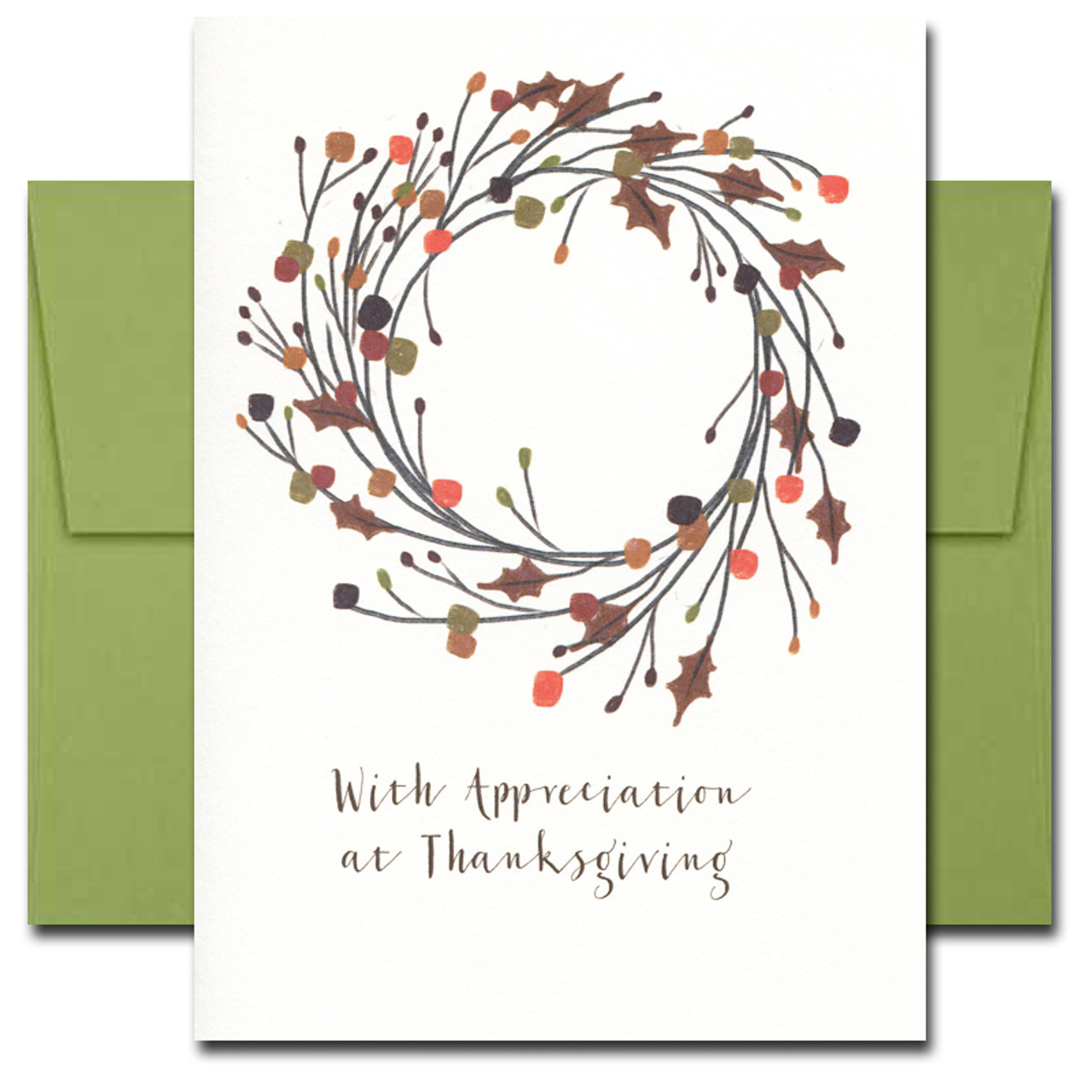Thank You Cards: Thanksgiving Wreath features a hand-drawn wreath and the words With Appreciation at Thanksgiving