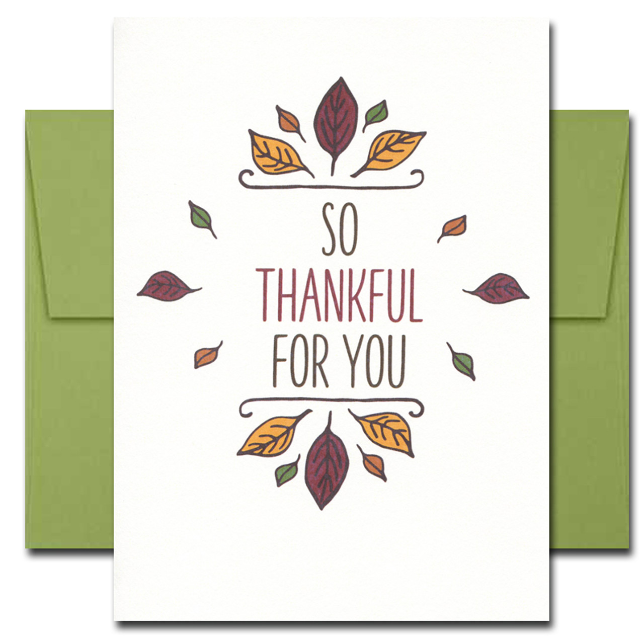 Thank You Cards: Thanksgiving Wreath features a hand-drawn leaves and the words: So Thankful for You