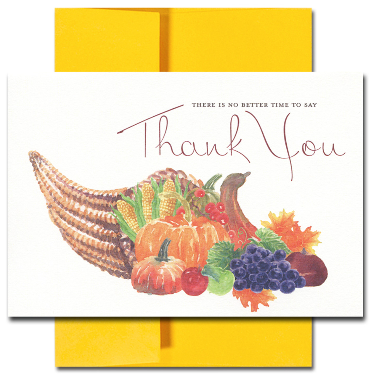 Thank You Cards: Thanksgiving Wreath features a hand-drawn cornucopia and the words: There is no better time to say Thank You