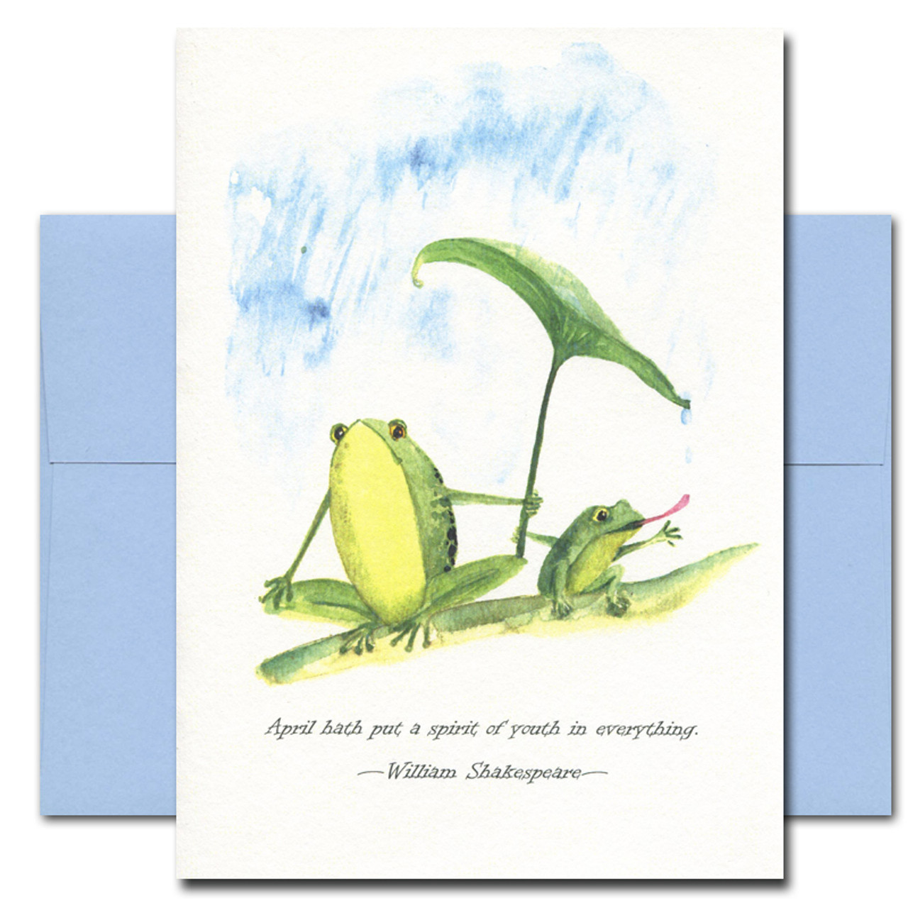 Rainy Day features two frogs hand-painted in watercolor and a quote: April hath put a spirit of youth in everything. - William Shakespeare