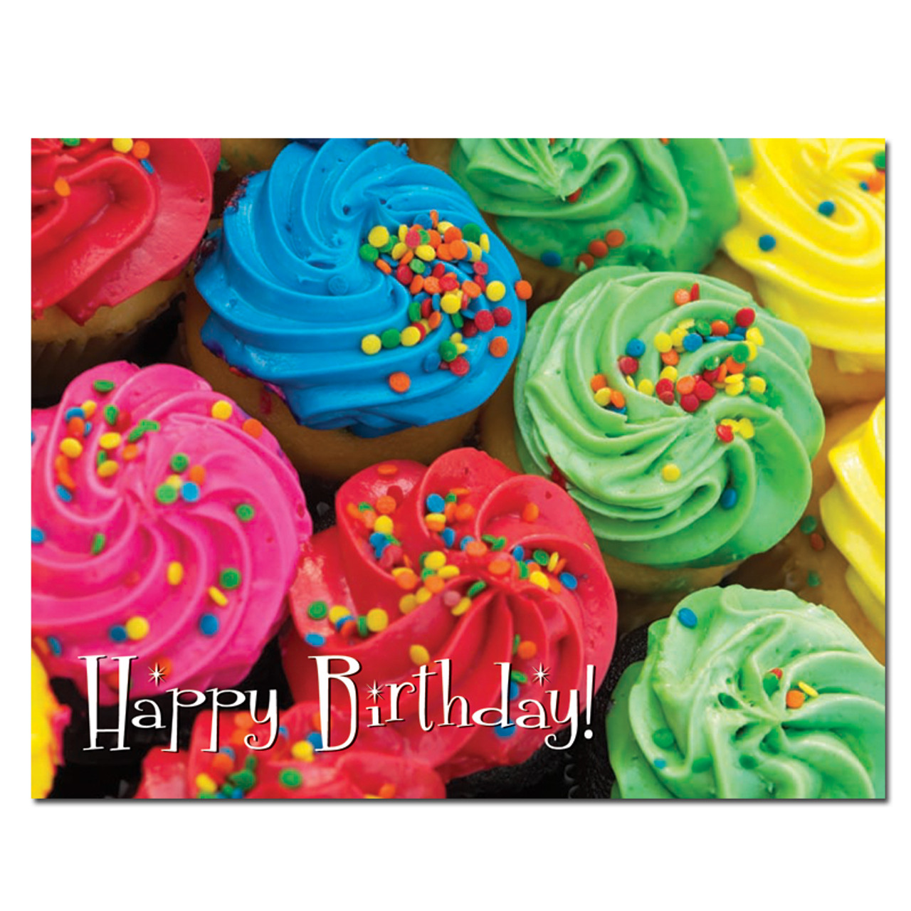 Colorful Cupcakes Birthday Postcard