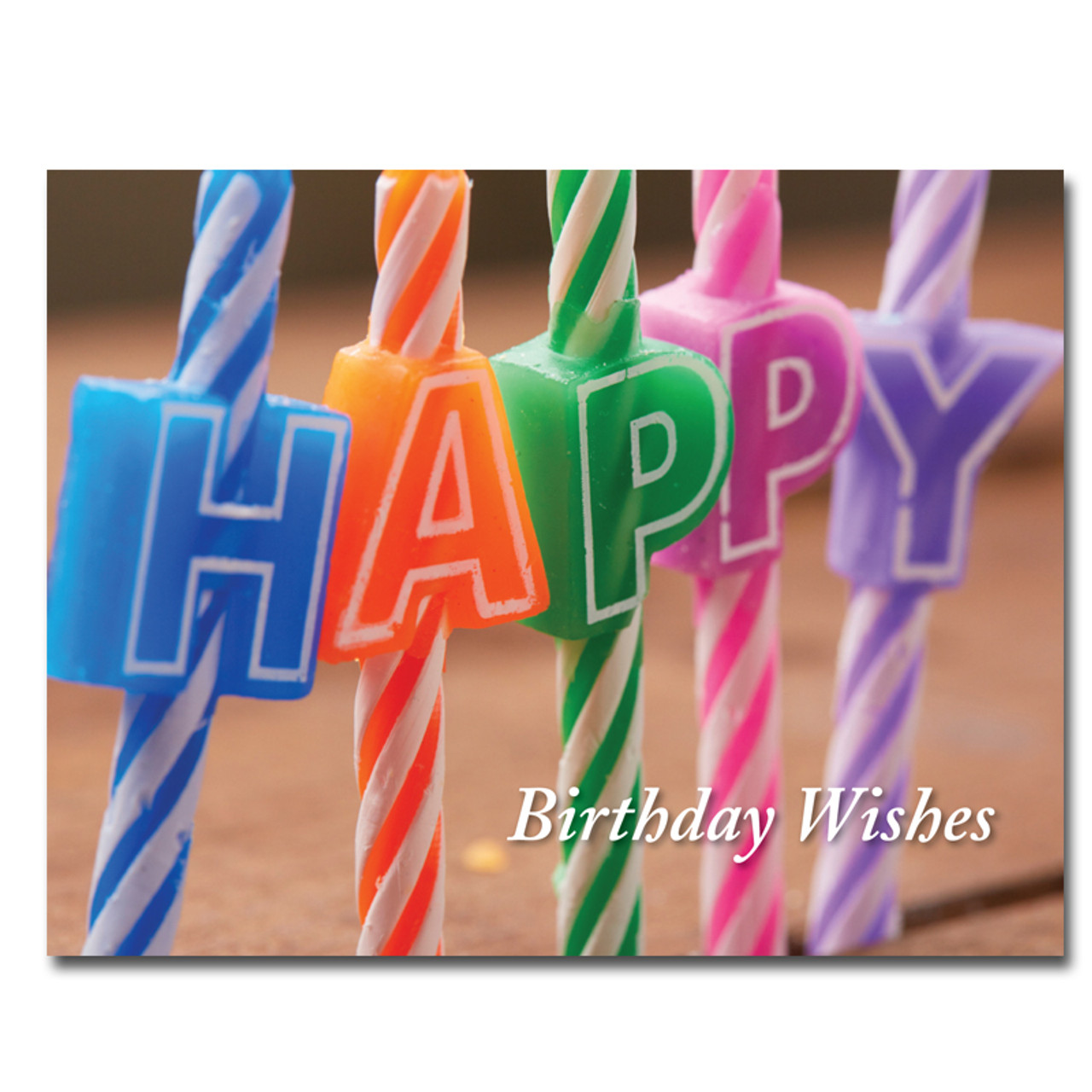 "Happy Letters Birthday Postcard has close up of birthday candles and the words ""Birthday Wishes"""