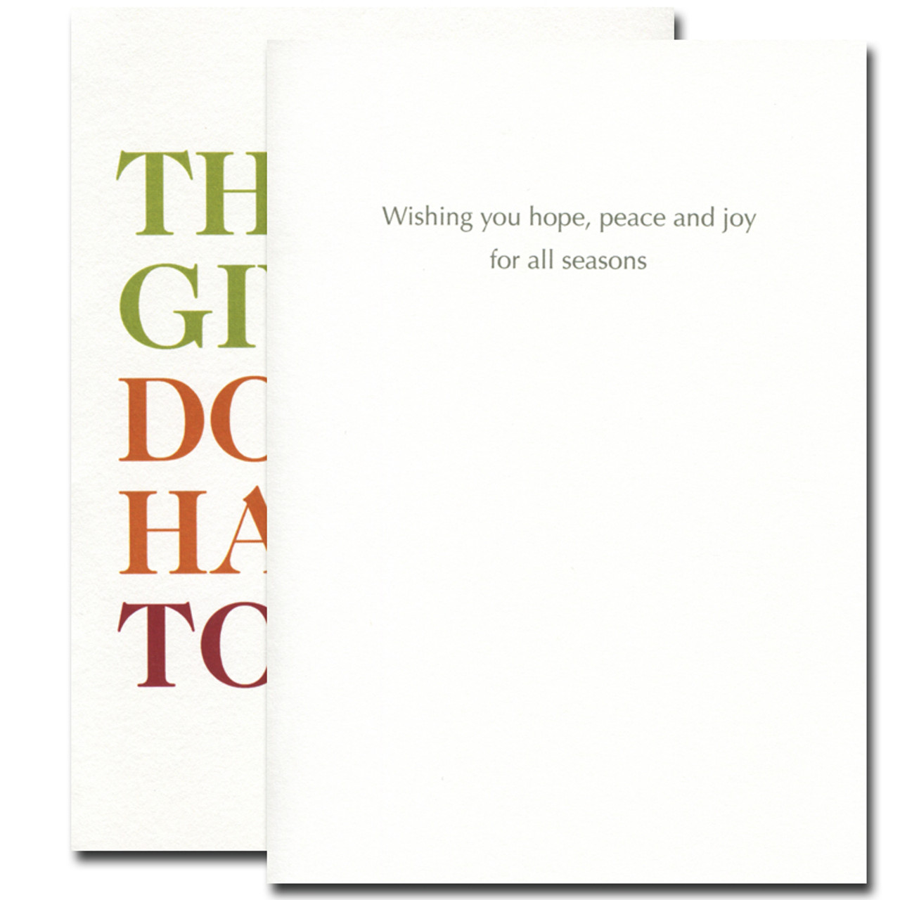 All Year Long Thanksgiving Card inside reads: Wishing you hope, peace and joy for all seasons