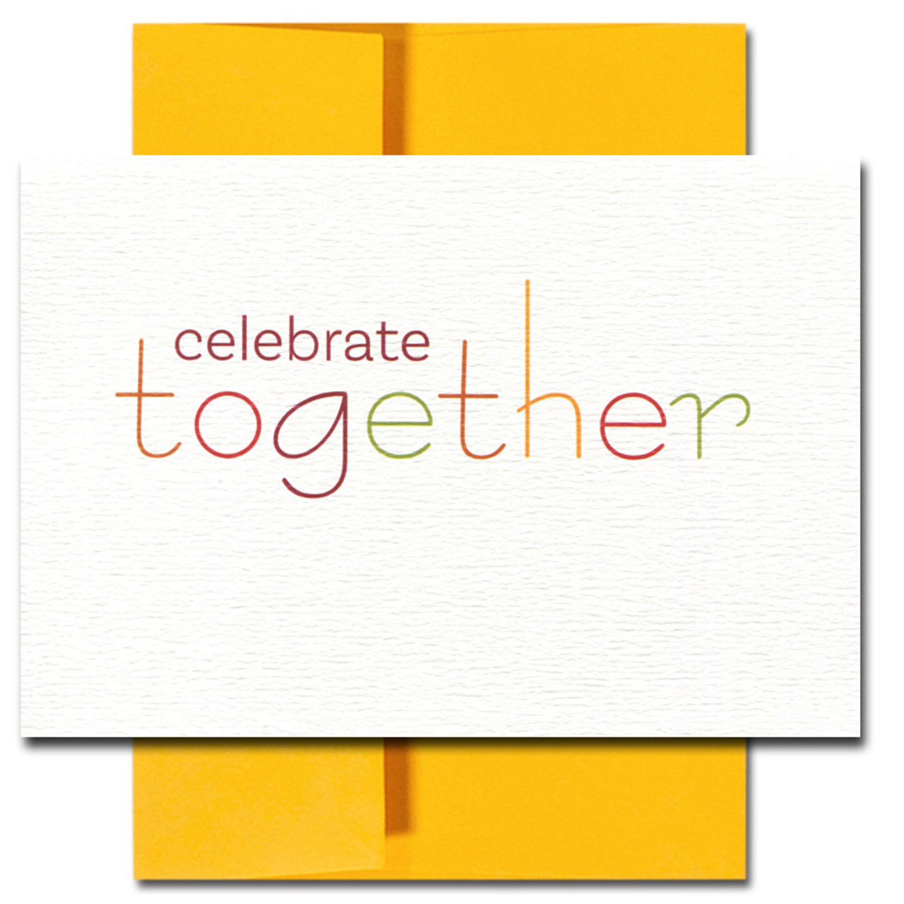 Celebrate Together card features a modern typeface set in traditional fall colors