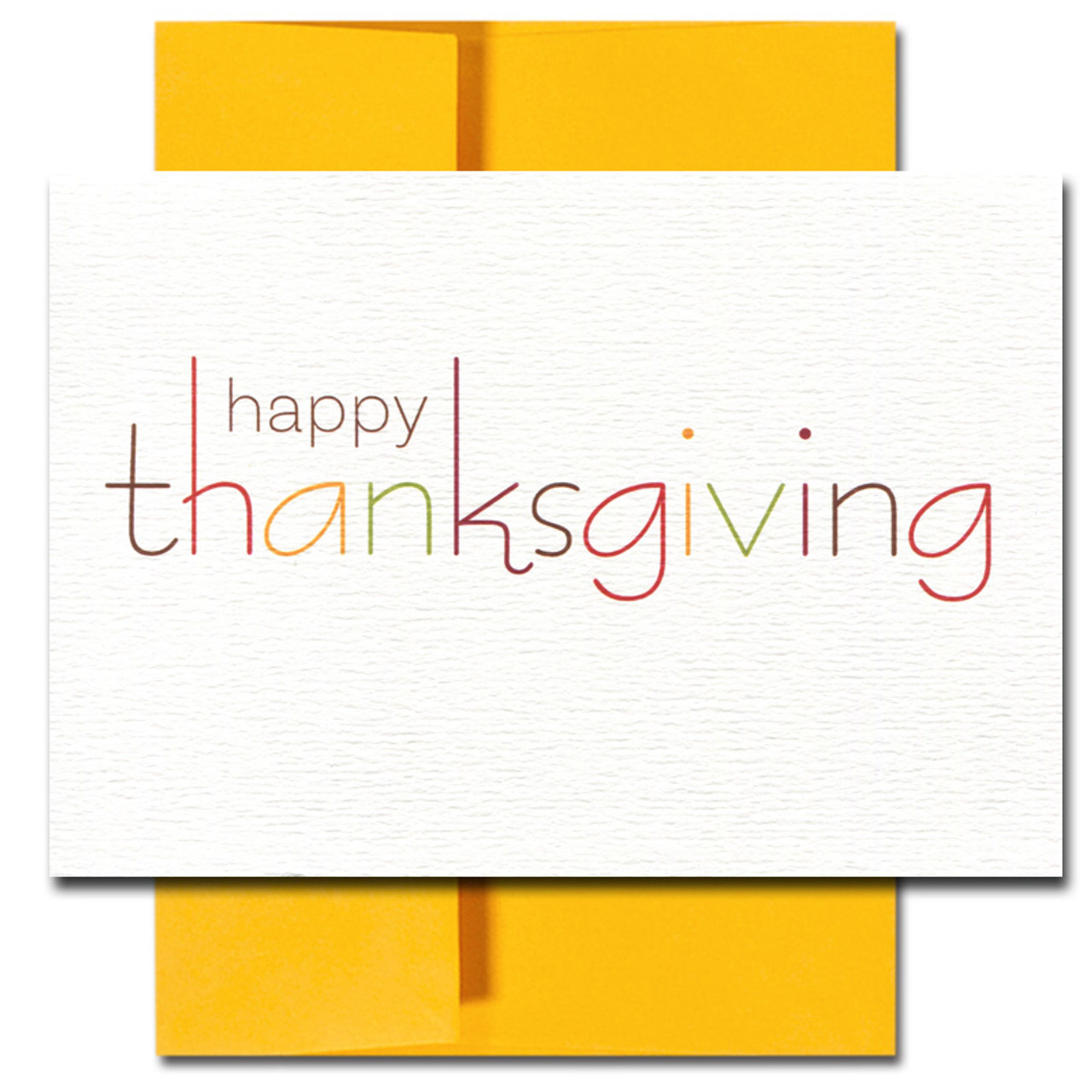 Plenty of Reasons Thanksgiving card has the words Happy Thanksgiving printed in traditional fall colors on textured card stock