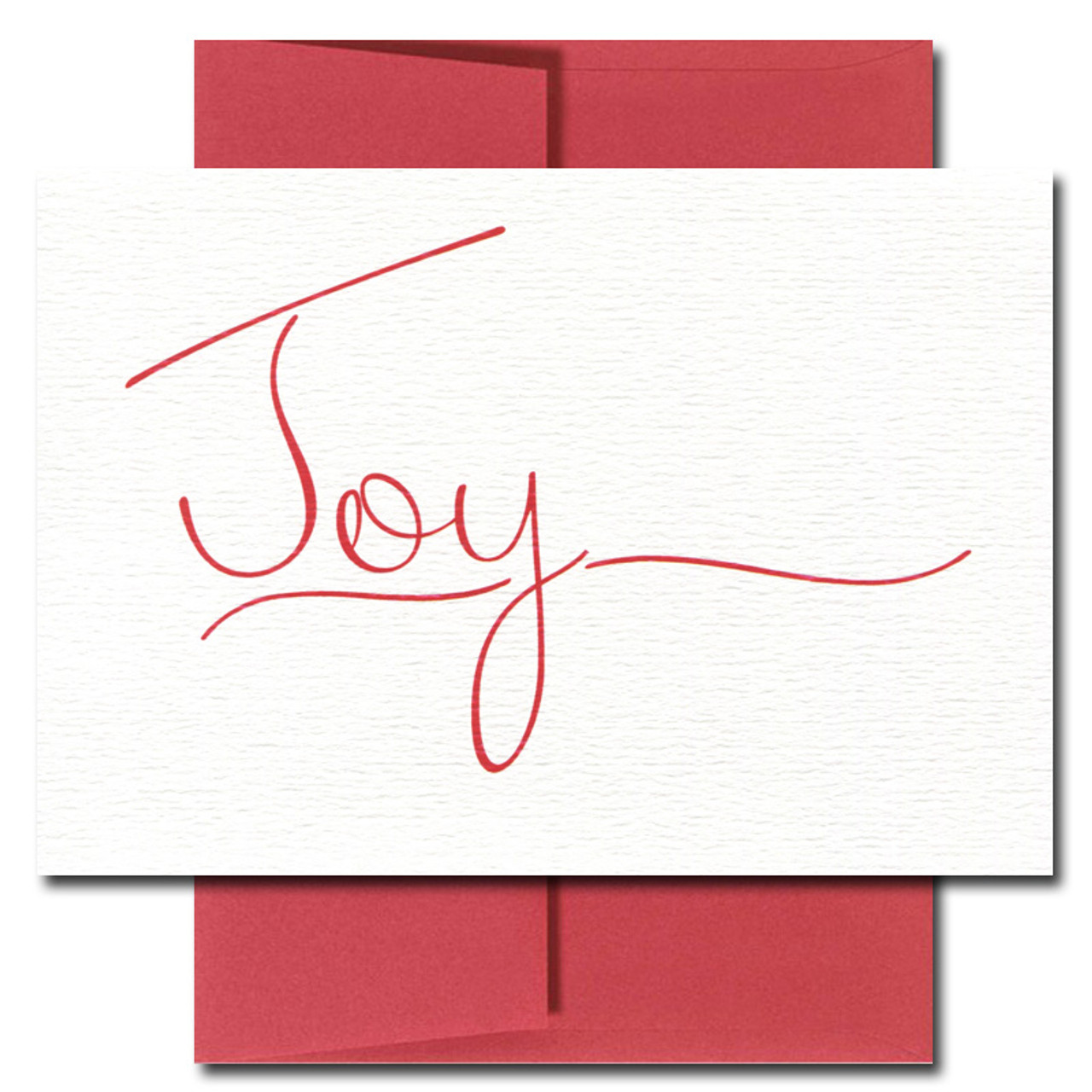 Joy holiday card features bright red script printed on white textured cardstock
