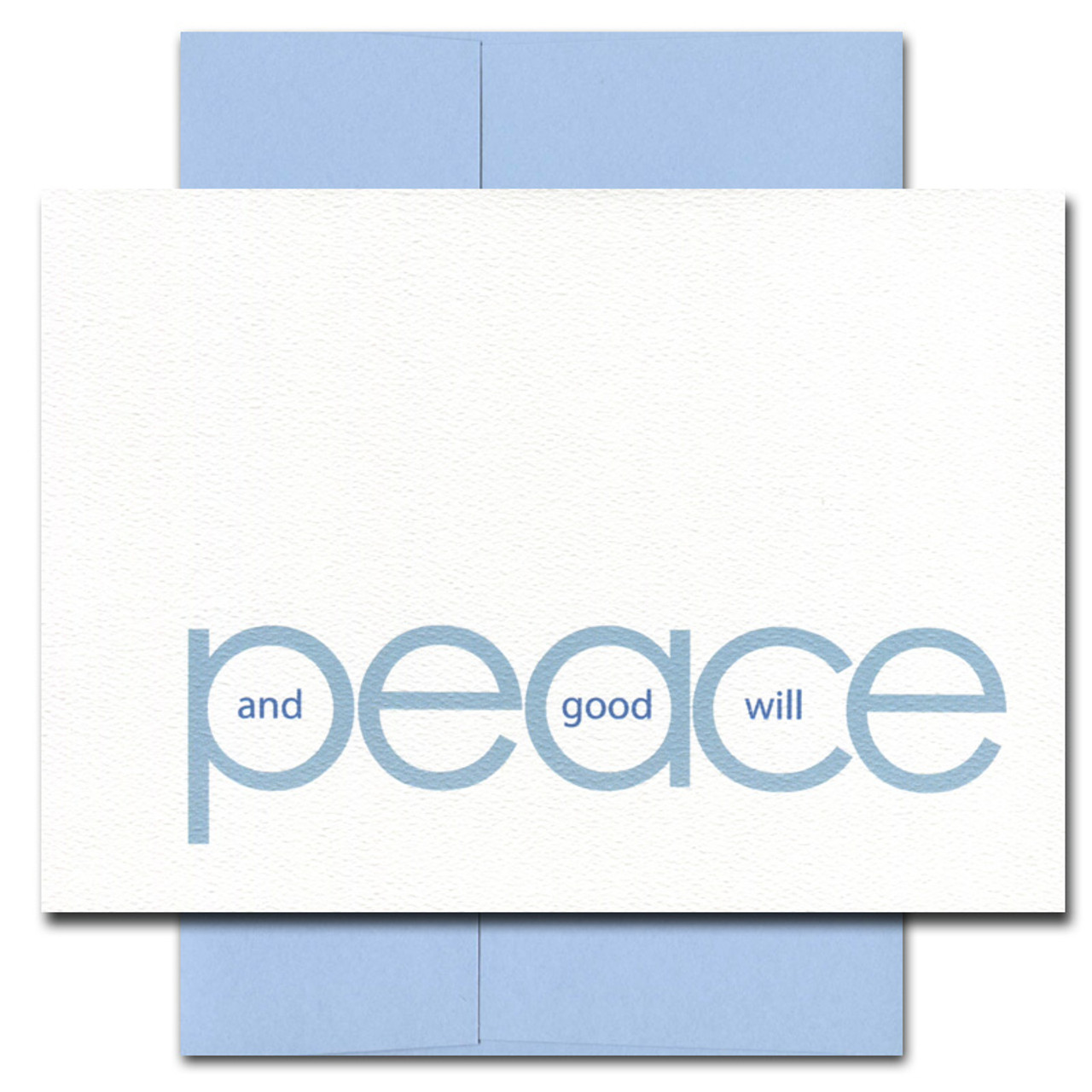 Peace and Goodwill card features blue text on bright white textured cardstock