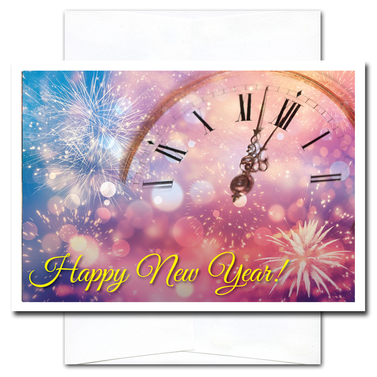 Minutes til Midnight New Year Card shows a clock face surrounded by sparkling confetti and starbursts