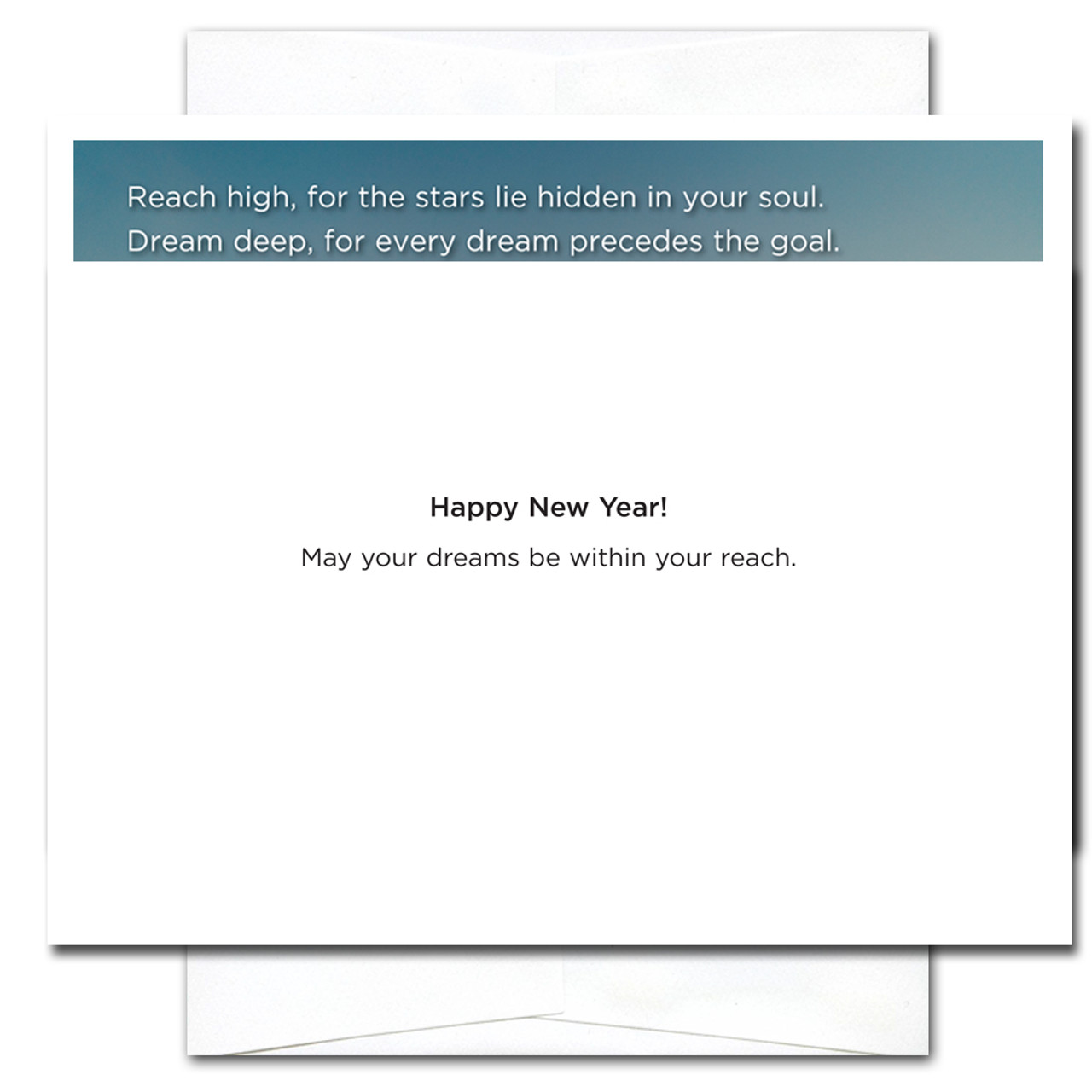 Inside of Reach High card reads: Happy New Year! May your dreams be within your reach.