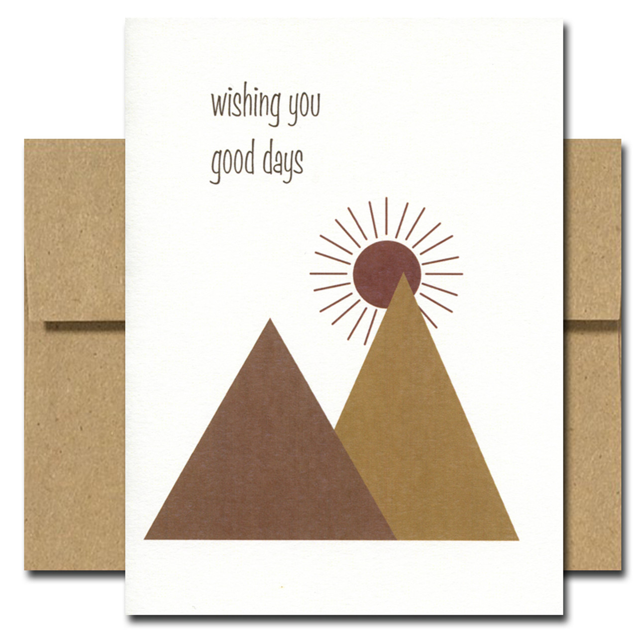 Thinking of you card has an abstract design of mountains and a sunrise and the words: Wishing you good days