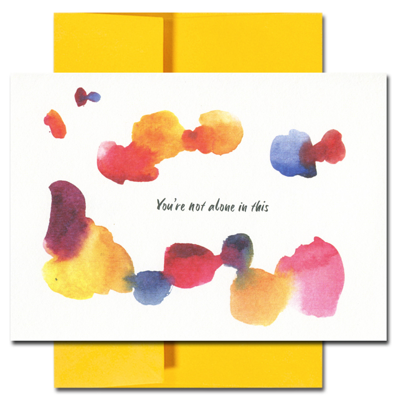 Thinking of you Card cover has an abstract watercolor design and the words: You're not alone in this