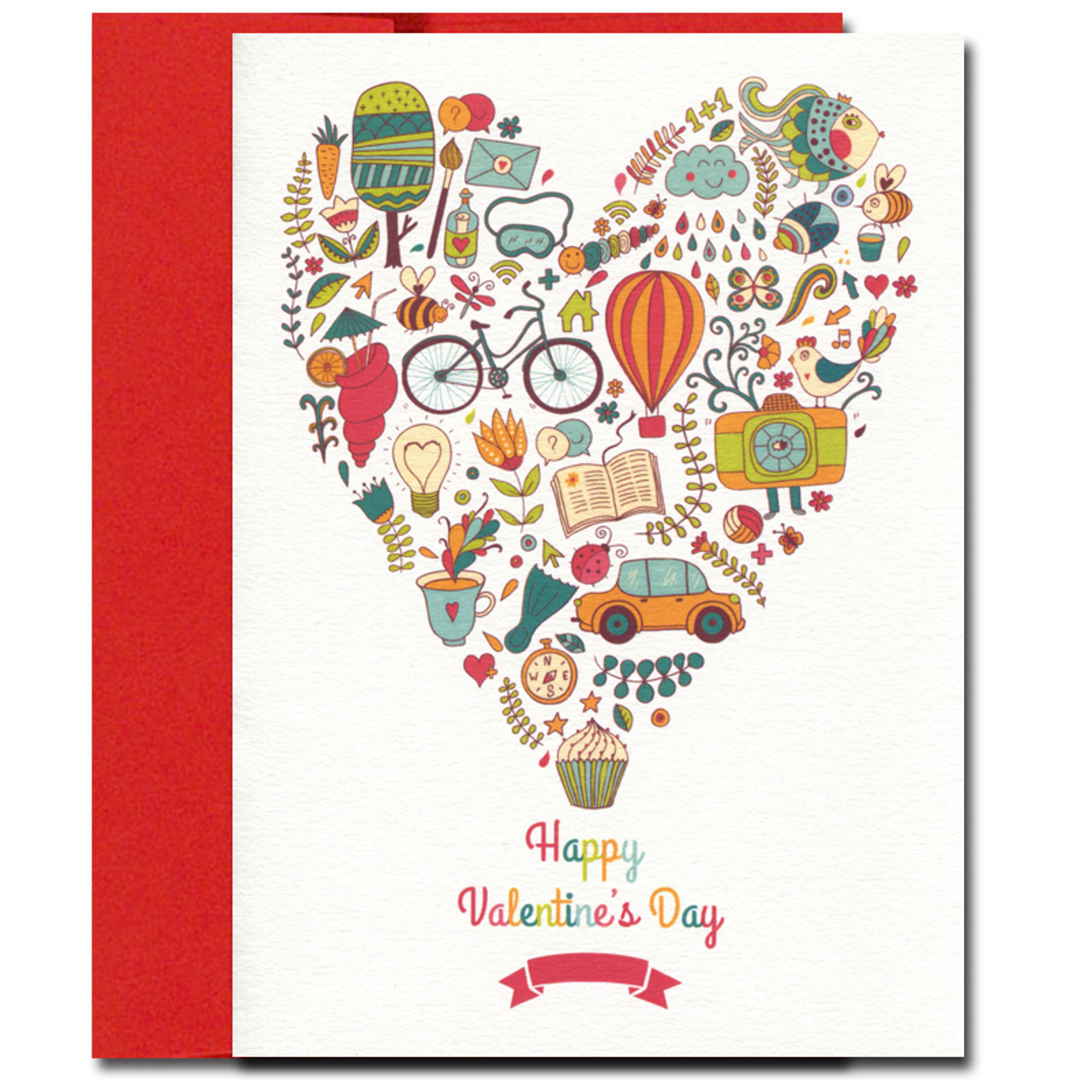 Valentine Card has multi-colored activities inside a heart and the greeting: Happy Valentine's Day