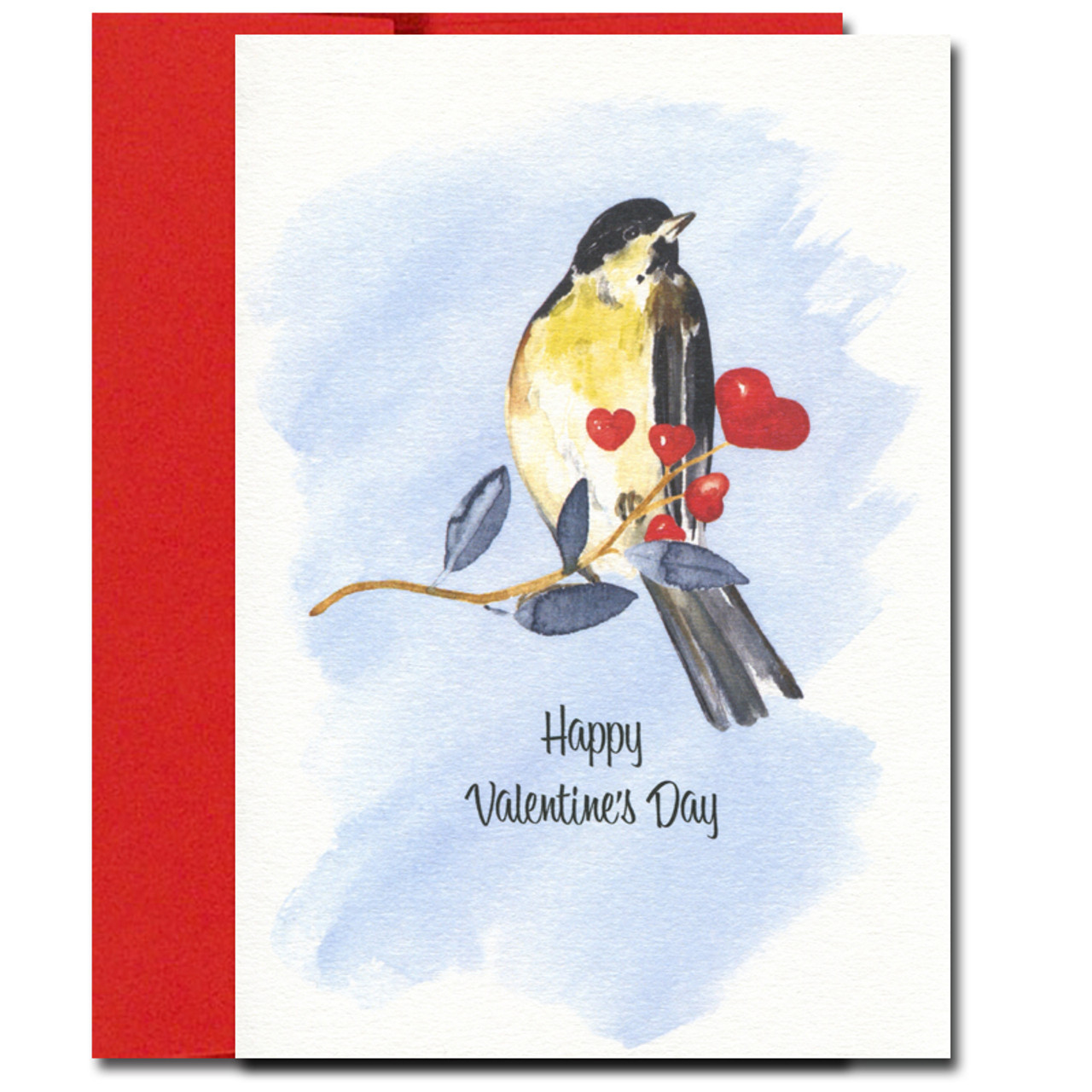 Songbird Valentine shows a bird with a yellow breast perched on a branch blooming with hearts
