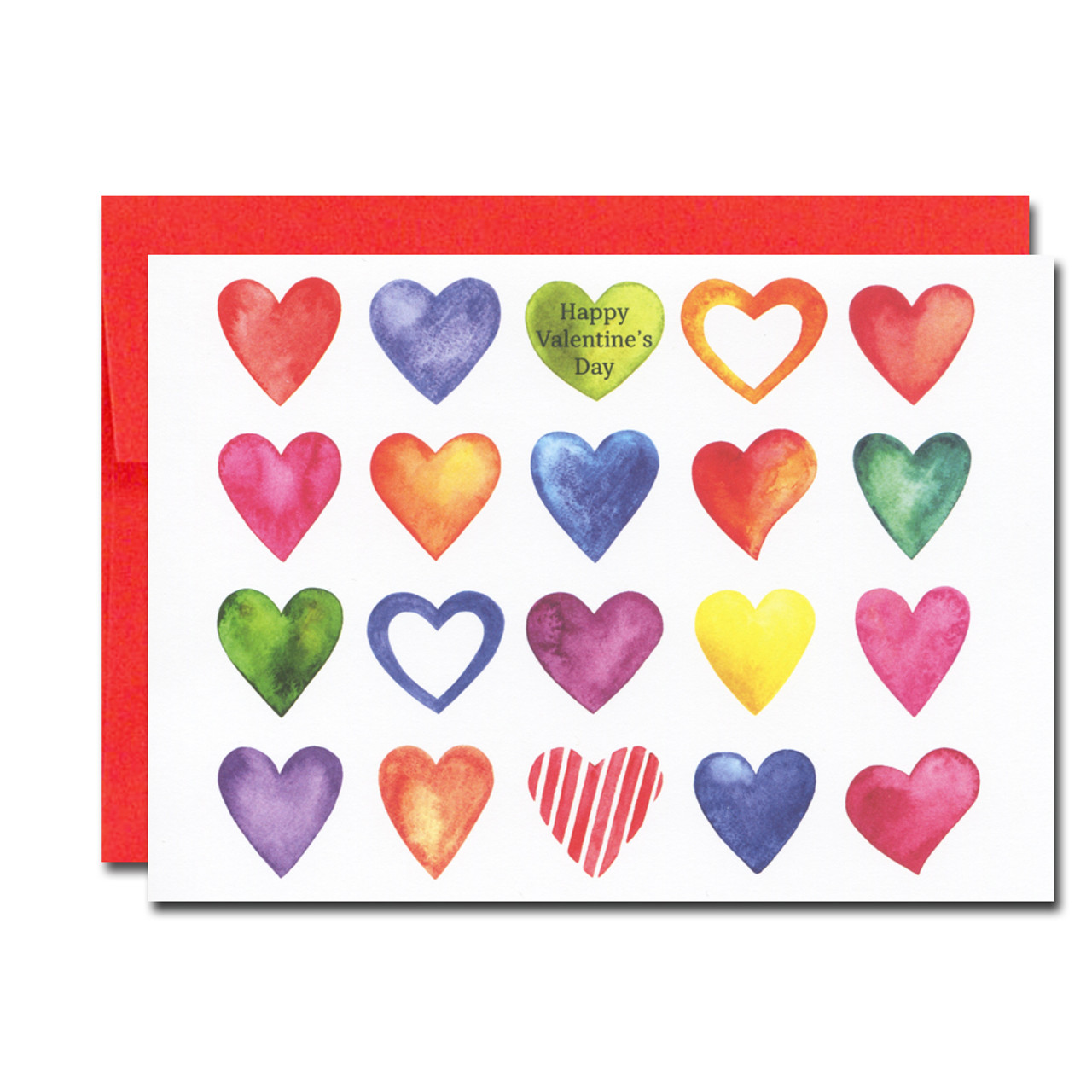 Valentine Note Card as assorted colorful mini hearts and the words Happy Valentine's Day