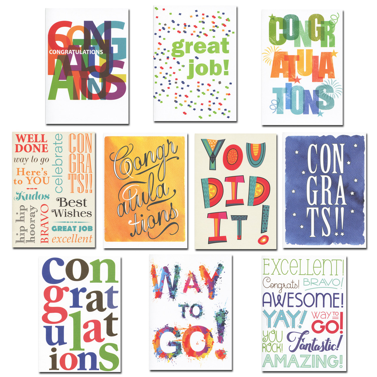 Celebration Congratulations Card Assortment features bright colors and celebratory wording