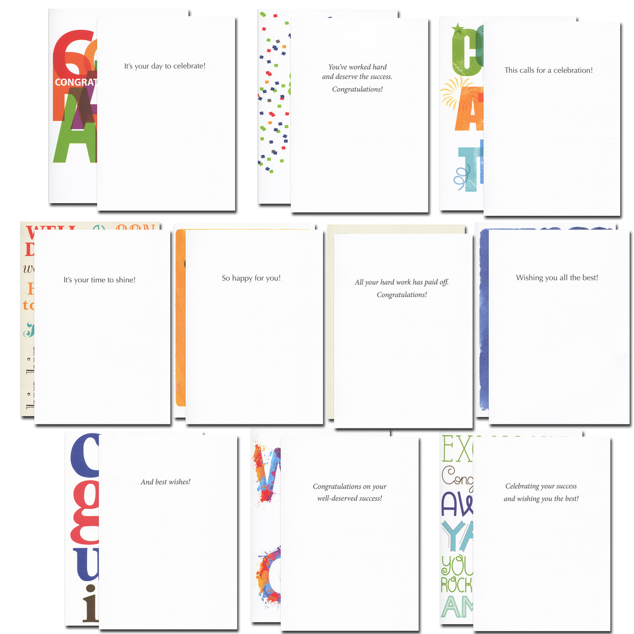 Insides of celebrations congratulations card assortment have short congratulatory messages