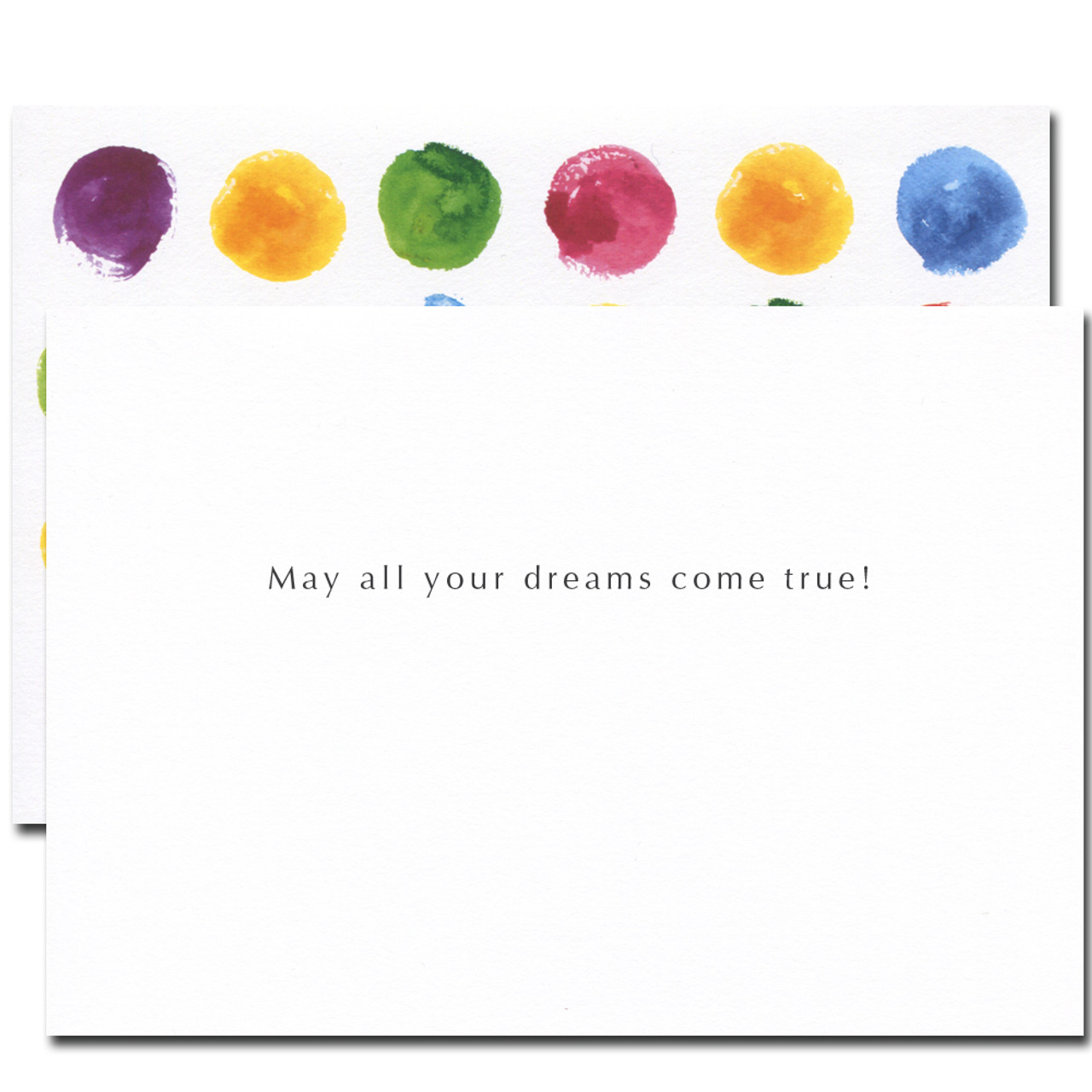 Congratulations Card - Dots. Inside reads: May all your dreams come true!