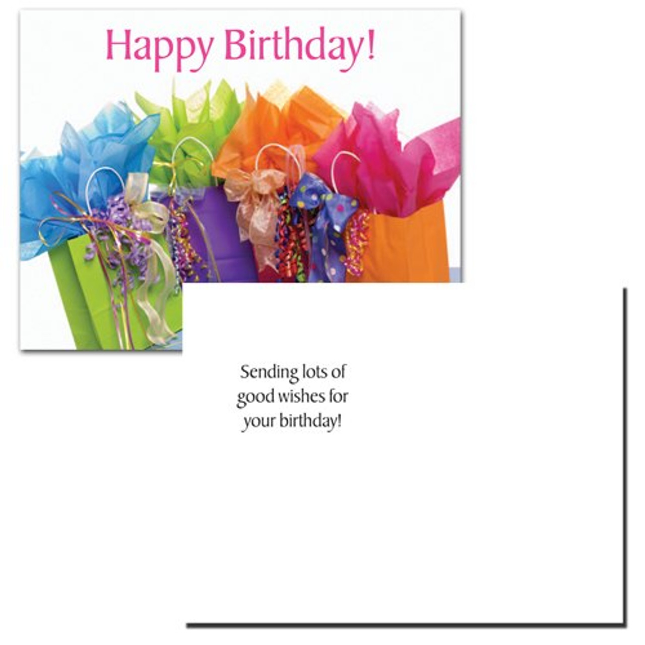"Birthday postcard ""Gift Bags"" with a photo of 5 colored different gift bags with wrapping and gift items protruding and the words Happy Birthday! in red letters across the top. Flip side reads: sending lots of good wishes for your birthday!"