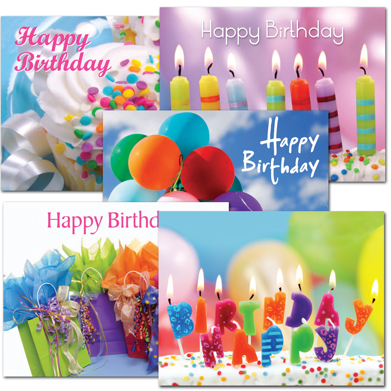 Assorted boxed birthday postcards with happy birthday text on the front, room to address and message on the flip side.  Each flip side has a different birthday greeting.  5 different birthday postcards, with 12 each for a total of 60 postcards.