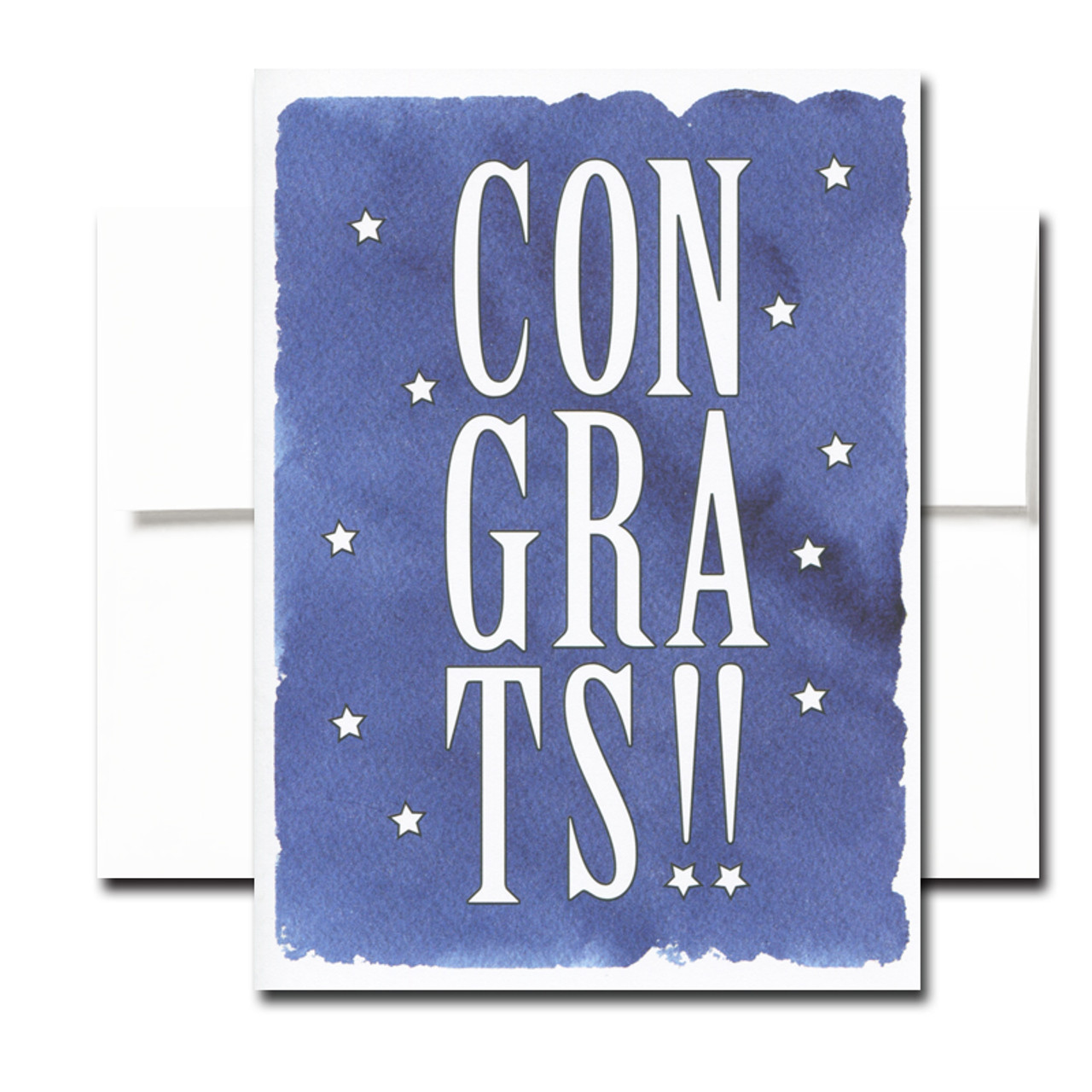 Star Spangled Congratulations card features the word Congrats on a dark blue background