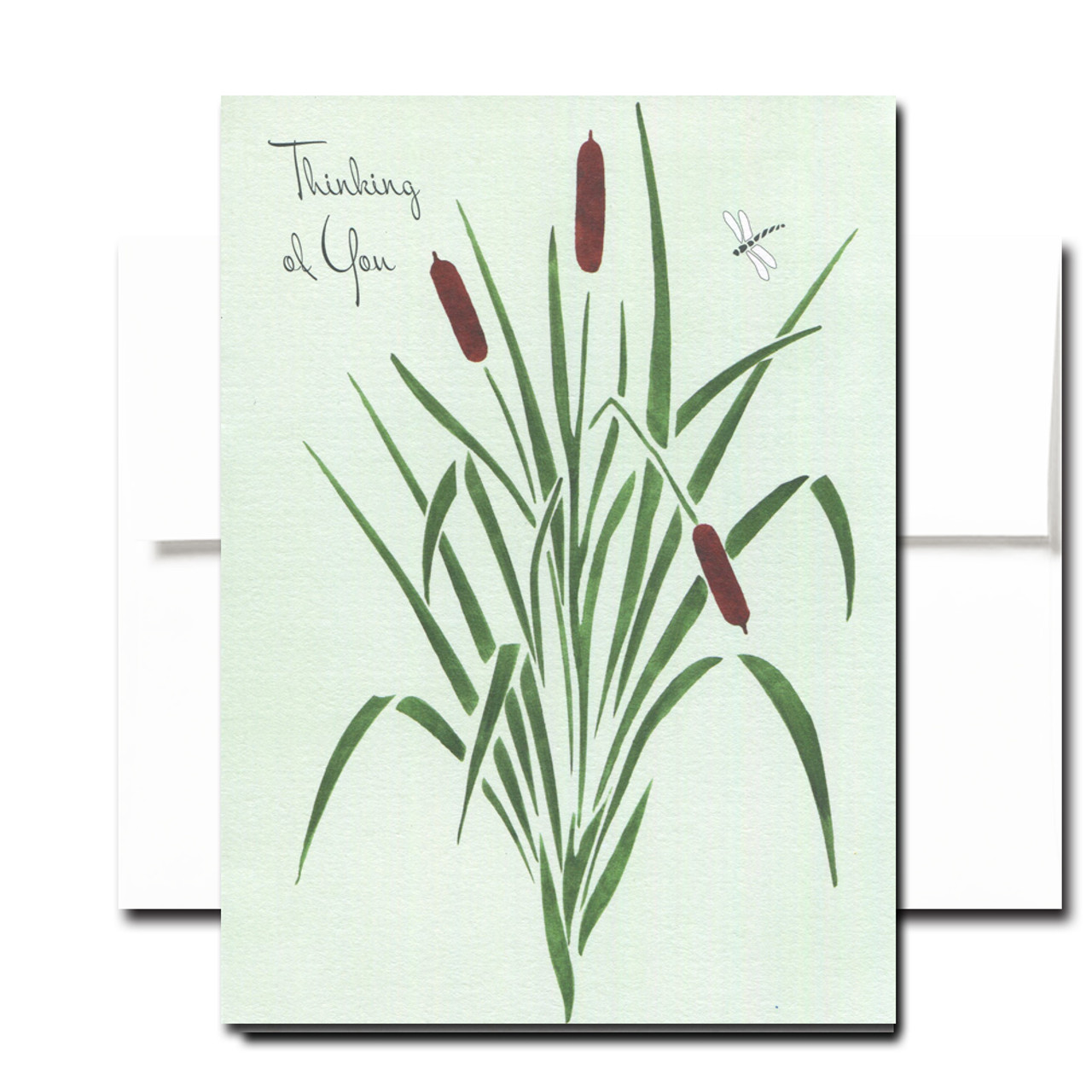 Thinking of You Note Card features a hand-painted illustration of cattails . Blank inside