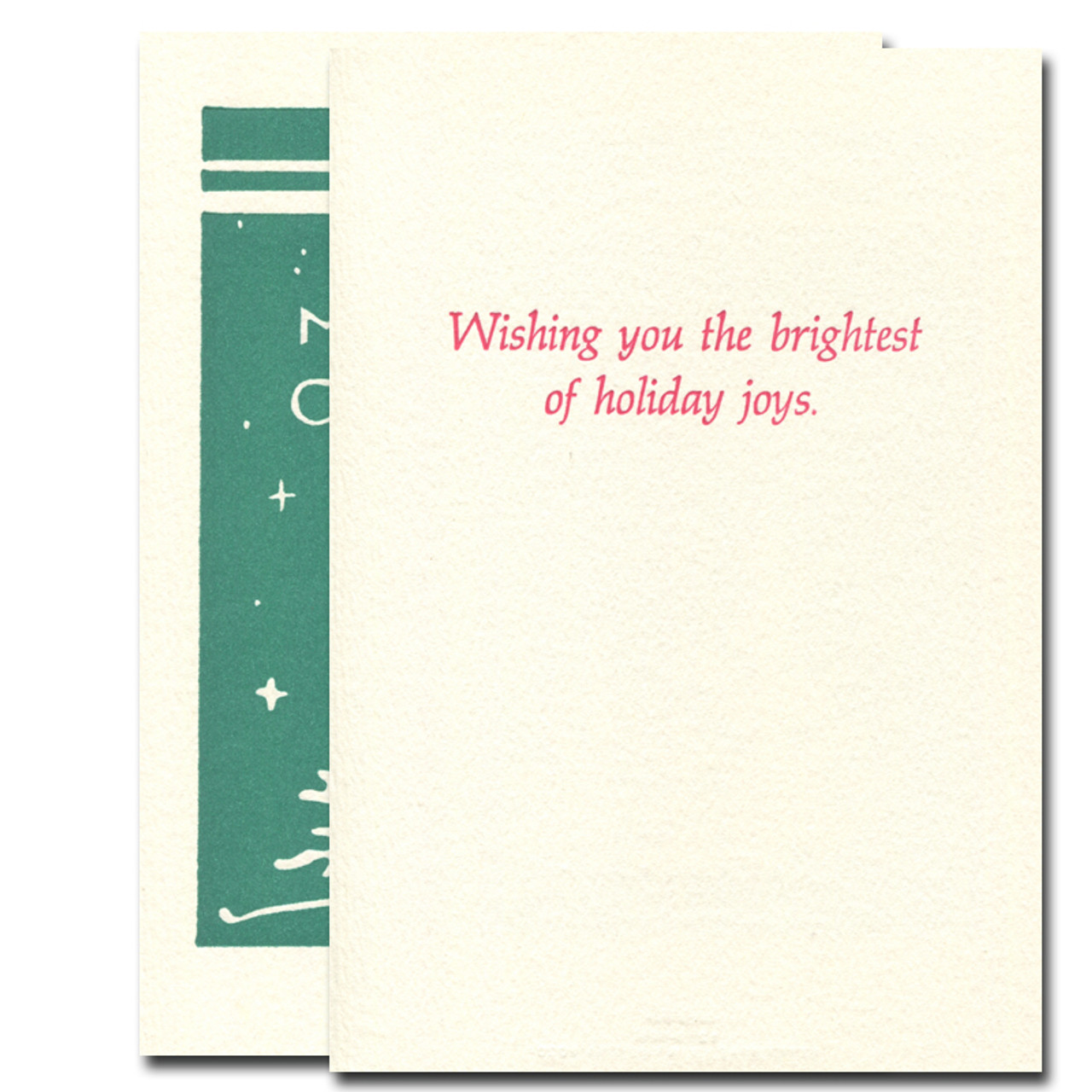 Little Firs letterpress holiday card inside reads: Wishing you the brightest of holiday joys