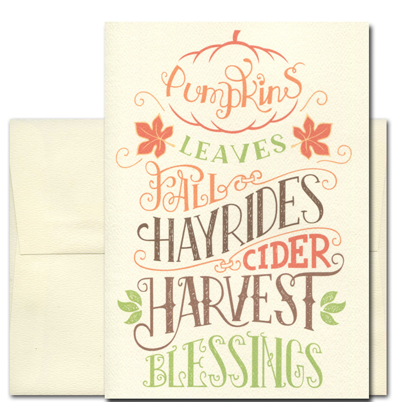Fall Days card cover has hand-lettered wording: pumpkins, leaves, fall, hayrides, harvest, blessings