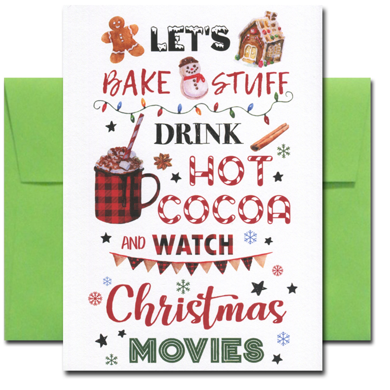 Let's Bake Stuff holiday card cover features a watercolor illustration and the words: Let's bake stuff, drink hot cocoa and watch Christmas movies