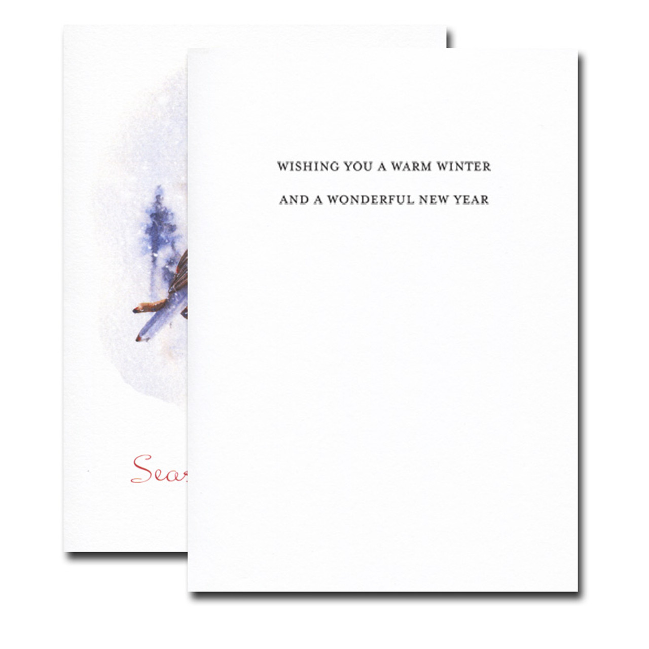 Little Robin Holiday Card inside reads: Wishing you a warm winter and a wonderful new year
