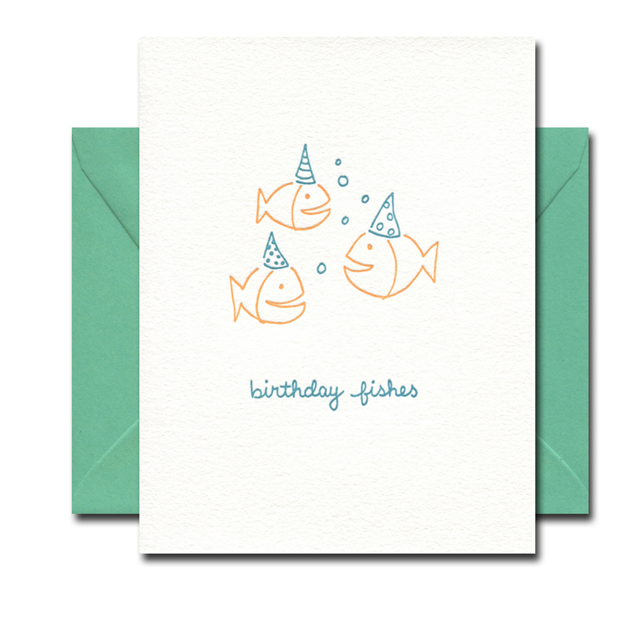 Birthday Fishes letterpress card from Albertine Press